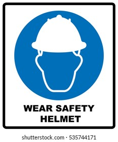 Wear a Safety Helmet Vector Illustration Sign.