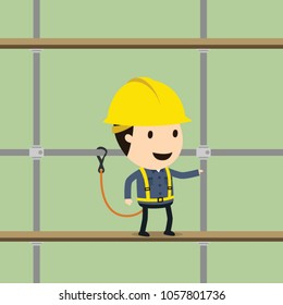 Wear safety hook during scaffold movement, A man is standing on the scaffolding, Vector illustration, Safety and accident, Industrial safety cartoon