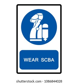 Wear SCBA (Self Contained Breathing Apparatus) Symbol, Vector Illustration, Isolate On White Background Icon. EPS10