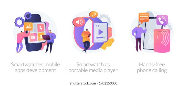 Wearable devices abstract concept vector illustration set. Smartwatches mobile apps development, smartwatch as portable media player, hands-free phone calling, voice command calls abstract metaphor.