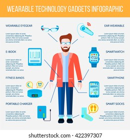 Wearable Gadgets Flat Infographic Set Vector Illustration
