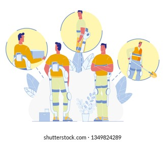 Wearable Robotic Exosuit for Disabled People and Industrial Workers Flat Vector. Man in Powered Exoskeleton Frame, Using Mechanic Muscles to Carry Heavy Box or Cargo, Digging with Shovel Illustration