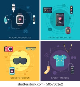 Wearable tech gadgets 4 flat icons square  design with augmented reality glasses and fitness tracker isolated vector illustration