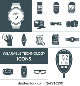 Wearable technologies icons black set with smart portable electronic isolated vector illustration