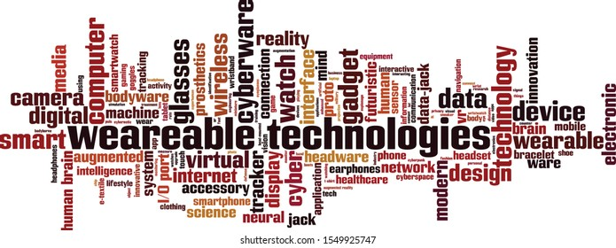 Wearable technologies word cloud concept. Collage made of words about wearable technologies. Vector illustration