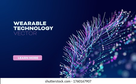 Wearable technology in abstract style. Abstract vector background. Future science vector background. Artificial intelligence tech.