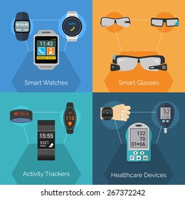 Wearable technology design concept set with smart watches glasses activity trackers flat icons isolated vector illustration