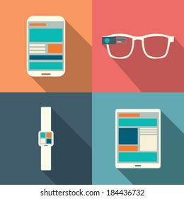 Wearable technology devices smartphone, smart watch, smart glasses, tablet with responsive design
