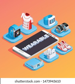 Wearable technology gadgets accessories clothes sneakers isometric composition with smartphone in center orange gradient background vector illustration