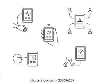 Wearable technology icons with modern high tech mobile devices tracking health and sharing info