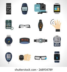 Wearable technology icons set with smart portable electronic devices isolated vector illustration