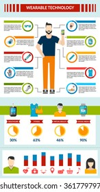 Wearable technology infographic with smart accessory fitness healthcare virtual reality social media vector illustration