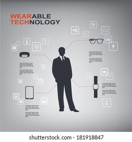 Wearable technology infographics with smart devices and icons