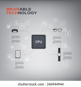 Wearable technology infographics with smart devices, icons and CPU chip. Eps10 vector illustration.