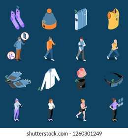 Wearable technology smart clothes isometric icons collection with sixteen isolated images with clothing items and people vector illustration