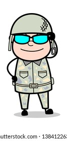 Wearing Cool Sunglases - Cute Army Man Cartoon Soldier Vector Illustration