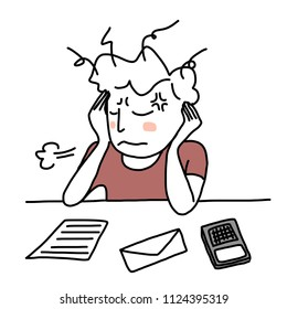Weary man with disheveled hair face-palming and sighing at desk. Bill, debt collection letter and calculator laid down on desk. Man facing financial problem. Hand-drawn style vector.
