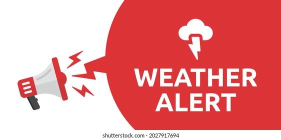 Weather alert announcement sign. Storm warning banner vector illustration