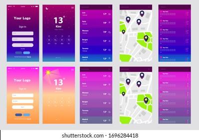 Weather App Mobile UI Vector Design