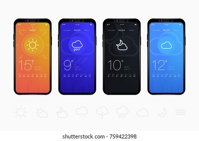 Weather Application User Interface Concept. UI Elements. Vector EPS 10 Illustration.
