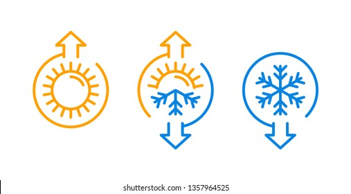 Weather change or climate control icon with temperature rising and lowering arrow indicator - isolated vector set