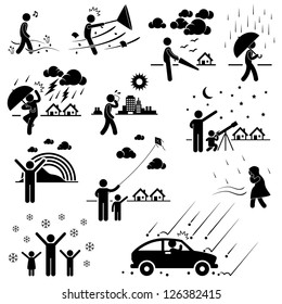 Weather Climate Atmosphere Environment Meteorology Season People Man Stick Figure Pictogram Icon