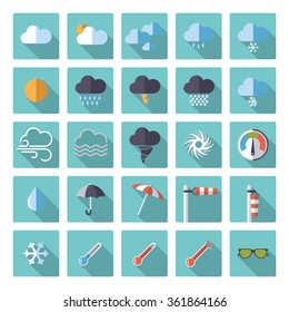 Weather and climate flat design vector icons in rounded squares collection