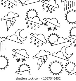 weather clouds sun moon storm lightning rain drops background vector illustration outline graphic