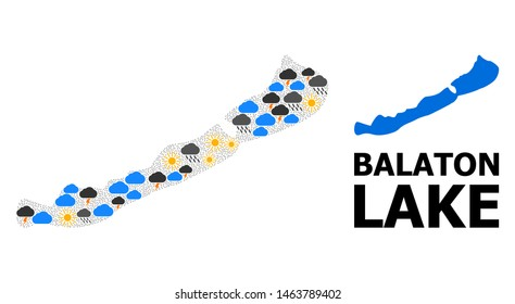 Weather collage vector map of Balaton Lake. Geographic collage map of Balaton Lake is created from scattered rain, cloud, sun, thunderstorm. Vector flat illustration for weather predictions.
