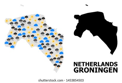 Weather collage vector map of Groningen Province. Geographic collage map of Groningen Province is designed with scattered rain, cloud, sun, thunderstorm elements.