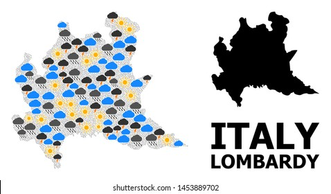 Weather collage vector map of Lombardy region. Geographic collage map of Lombardy region is done from randomized rain, cloud, sun, thunderstorm symbols. Vector flat illustration for weather news.