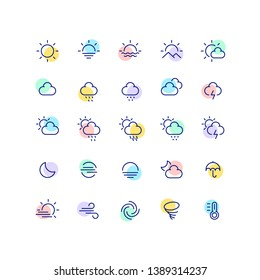 Weather Color Outline Line Icons