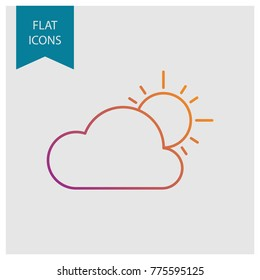 Weather colored vector line icons: cloudy