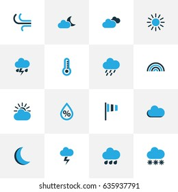 Weather Colorful Icons Set. Collection Of Fog, Rainfall, Thunderstorm And Other Elements. Also Includes Symbols Such As Rainbow, Night, Weather.
