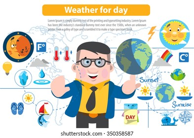 Weather for day, infographics