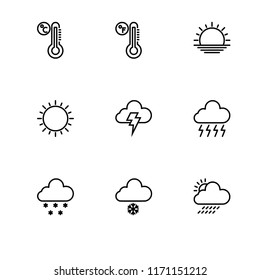 Weather day and night outline icon set 10 EPS vector format. Transparent background.