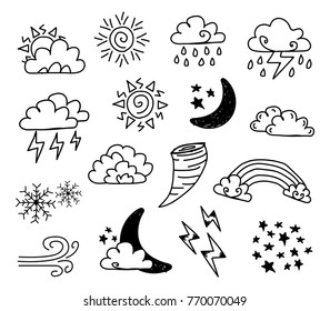 Weather doodle set