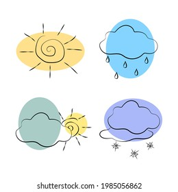 Weather Doodle Vector Set. Colored Illustration with hand drawn line art style. Stylized isolated images of the sun, clouds, rain, snow.
