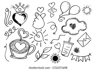 weather doodle vector set illustration with hand draw line art style vector.
