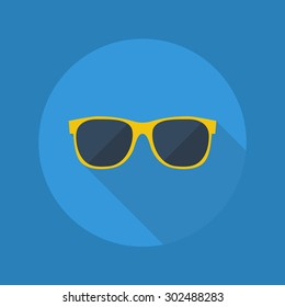Weather Flat Icon With Long Shadow. Sunglasses