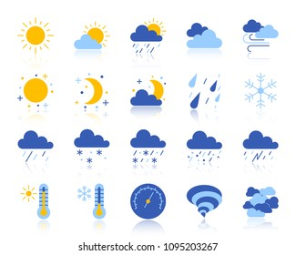Weather flat icons set. Web vector sign kit of meteorology. Climate pictogram collection includes cloud, snow, rain. Simple weather colorful icon symbol with reflection isolated on white