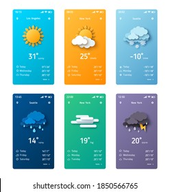 Weather forecast app widget set. Vector illustration. Daily application template with paper cut climate icons. Thunderstorm, rain, sunny day, fog and winter snow.