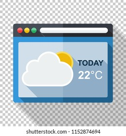 Weather forecast application icon in flat style with long shadow on transparent background