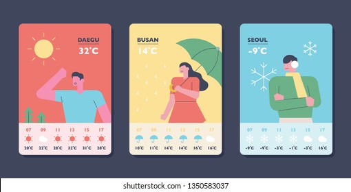 Weather forecast card. App page design template. flat design style minimal vector illustration