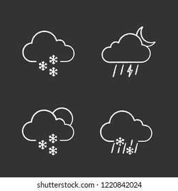 Weather forecast chalk icons set. Light snow, night thunderstorm, scattered snow, sleet weather. Isolated vector chalkboard illustrations