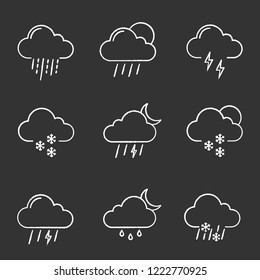 Weather forecast chalk icons set. Thunderstorm, drizzle rain, sleet, heavy rain, scattered shower, thunder, light snow, night storm, scattered snow. Isolated vector chalkboard illustrations