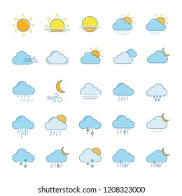 Weather forecast color icons set. Snow, rain, sleet. Shower or drizzle, thunderstorm. Sunny, cloudy, foggy and windy weather. Isolated vector illustrations