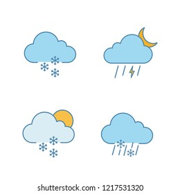 Weather forecast color icons set. Light snow, night thunderstorm, scattered snow, sleet weather. Isolated vector illustrations