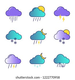 Weather forecast color icons set. Thunderstorm, drizzle rain, sleet, heavy rain, scattered shower, thunder, light snow, night storm, scattered snow. Isolated vector illustrations