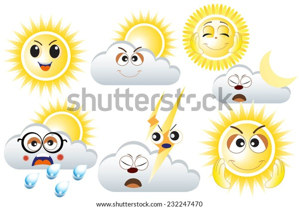 Weather Forecast Emoticons Sunny Cloudy Rain Stock Vector Royalty